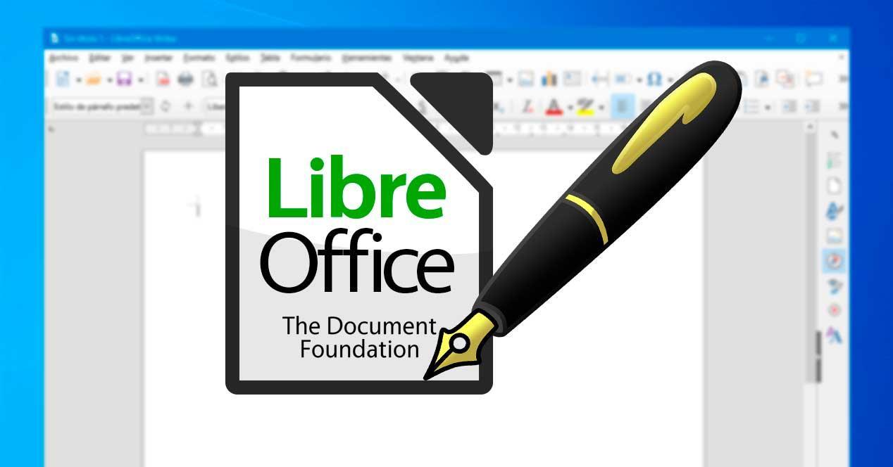 LibreOffice pluma escribir