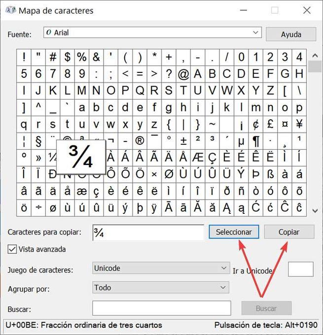 Mapa de caracteres Seleccionar y Copiar