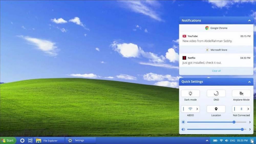 Windows XP 2021 Edition - centro de acción