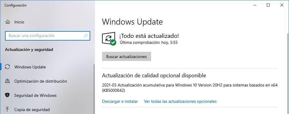 Mise à jour KB5000842 Windows 10