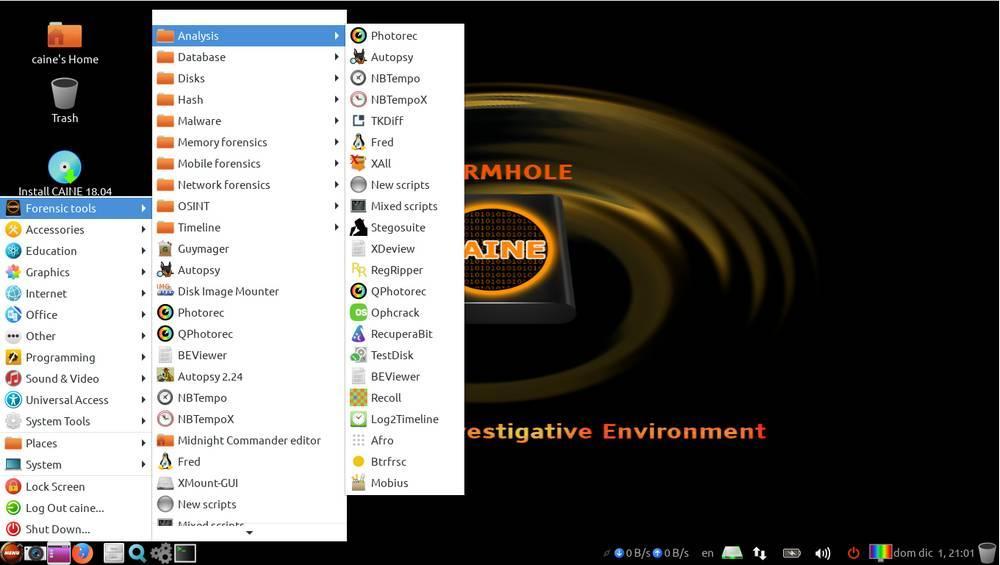 Меню программ CAINE Linux