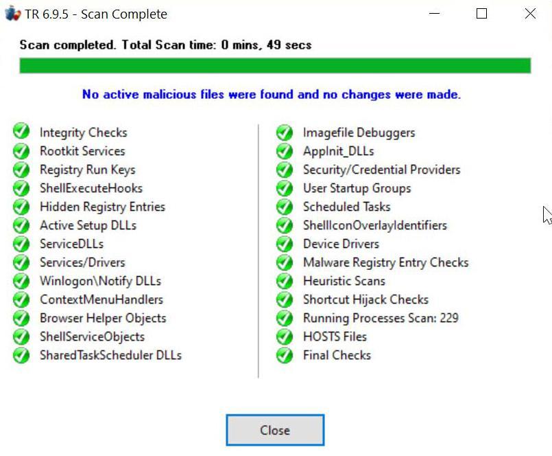 Trojan Remover resultado del escaneo realizado