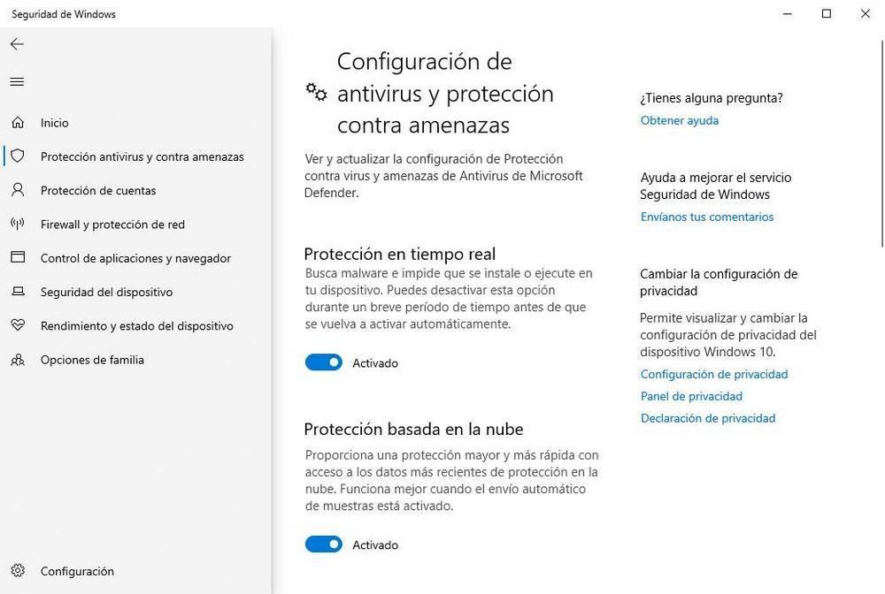 Windows Defender - Protección tiempo real