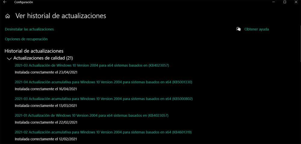 Desinstalar actualizaciones NVIDIA