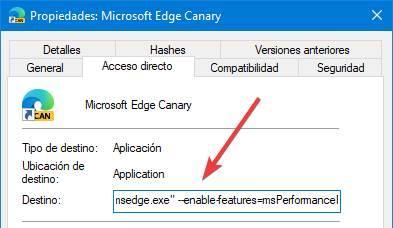 Edge Canary Flag Modo Rendimiento