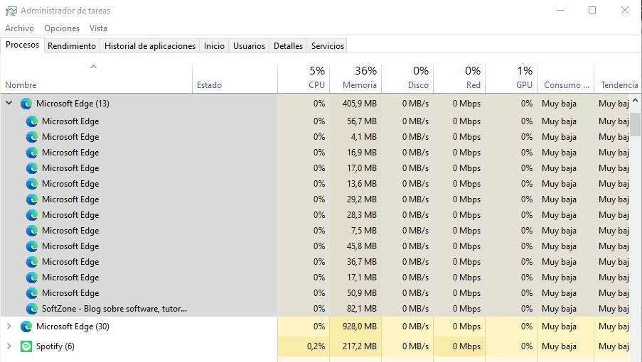 Edge modo rendimiento on vs off