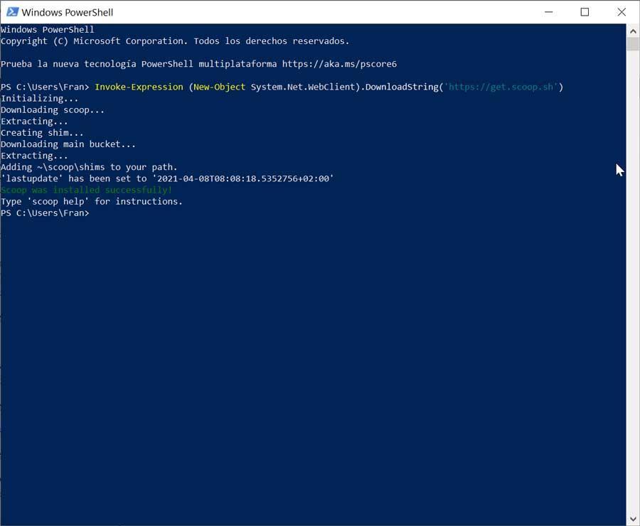 Instalación de Scoop en PowerShell de Windows