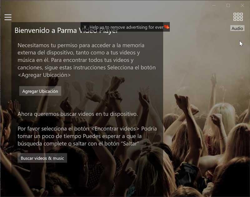 Parma Media Player pantalla de bienvenida