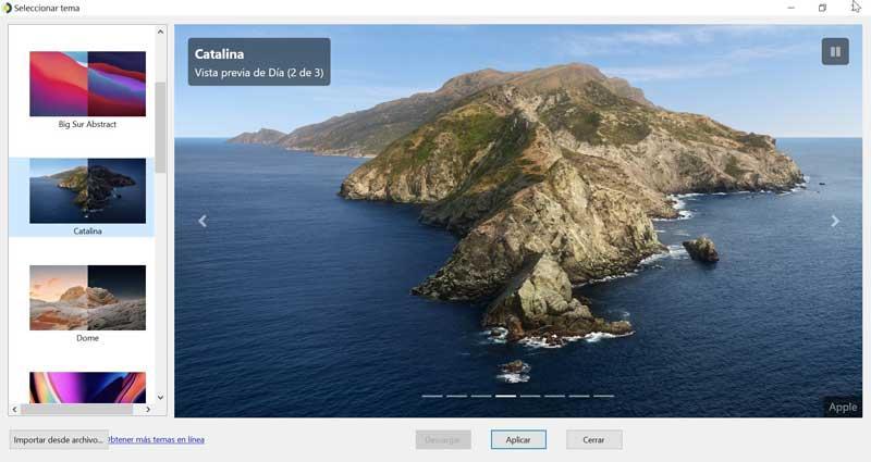 WinDynamicDesktop elegir tema