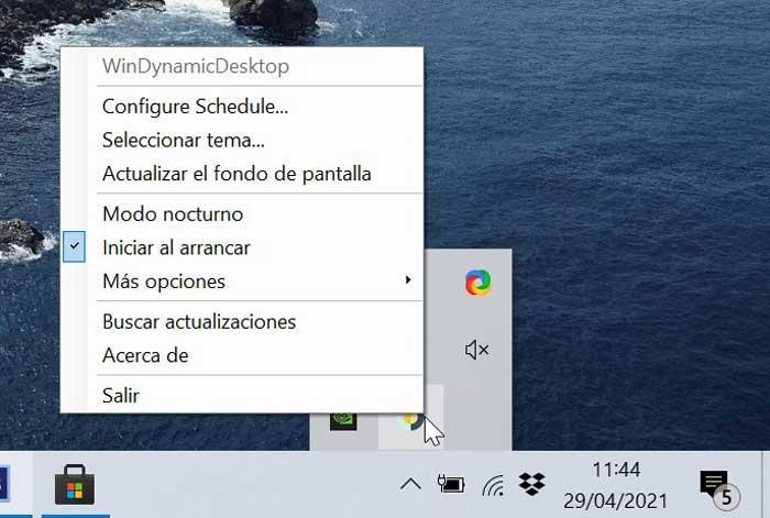 WinDynamicDesktop menú bandeja del sistema