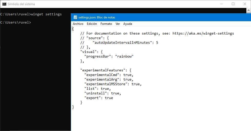 WinGet habilitar funciones experimentales lista y desinstalar