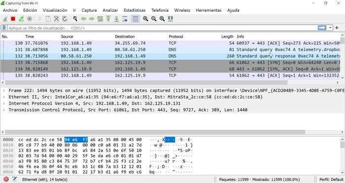Wireshark análisis de red