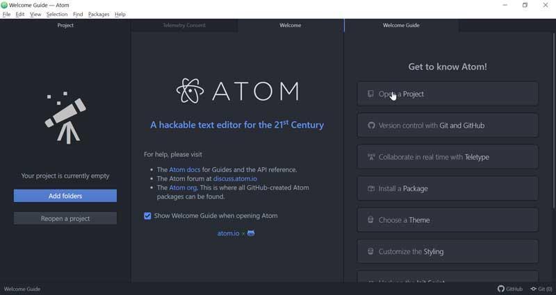Atom interfaz