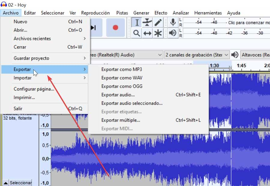 Audacity exportar archive audio