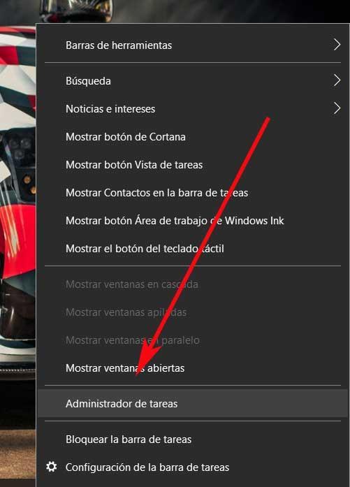 Barra tareas administrator