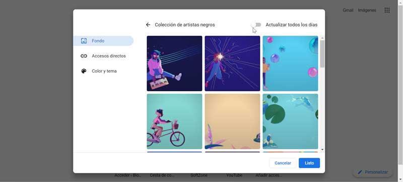 Chrome choose background