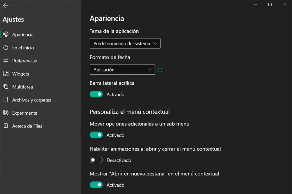 Configuración files Explorador Windows