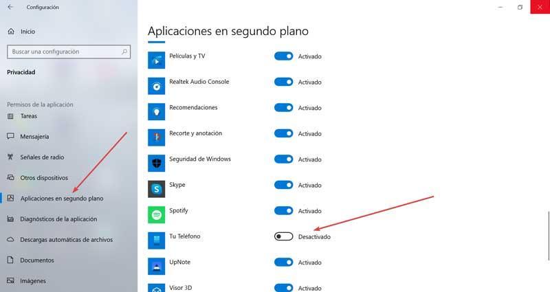 Configuración y Aplicaciones en segundo plano