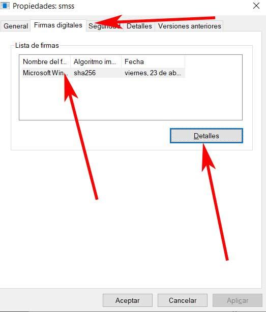 Detalles firma digital proceso smss.exe