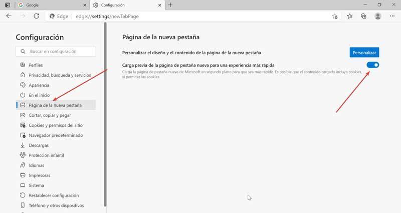 Edge activar carga previa de la página pestana nueva
