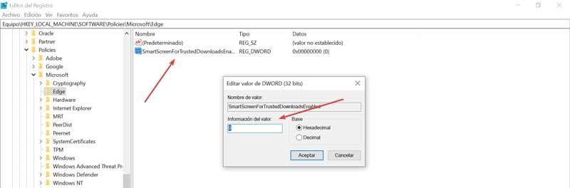 Editor de registro Edge información de valor