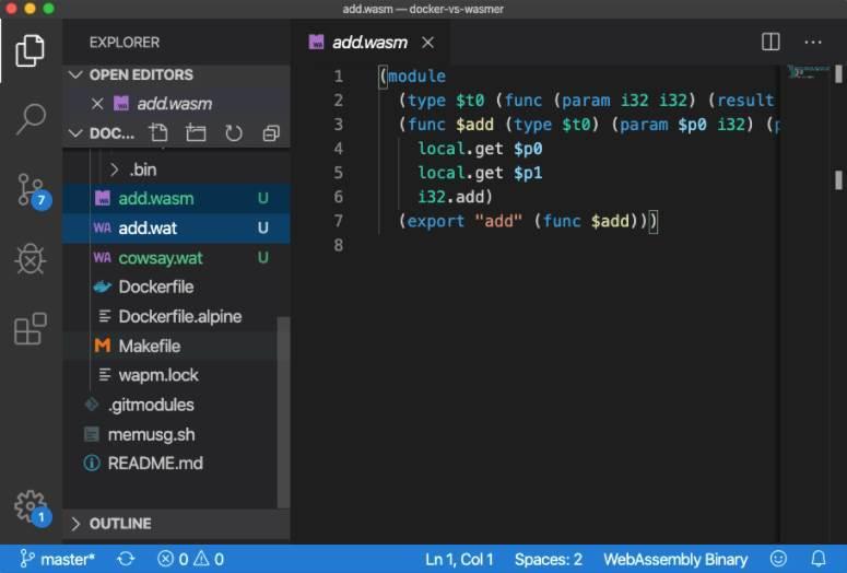 Ejemplo código WebAssembly WASM
