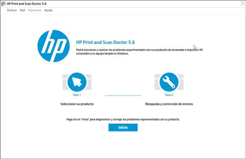 HP Print and Scan Doctor pantalla de inicio