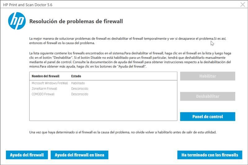 HP Print and Scan Doctor problemas firewall