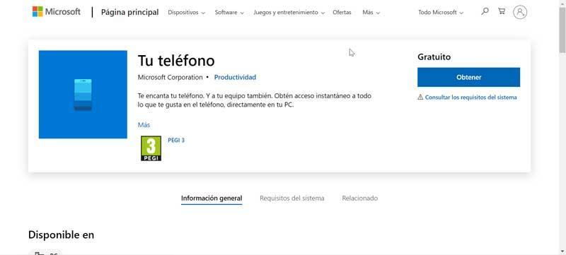 Obtener Tu teléfono desde la Microsoft Store