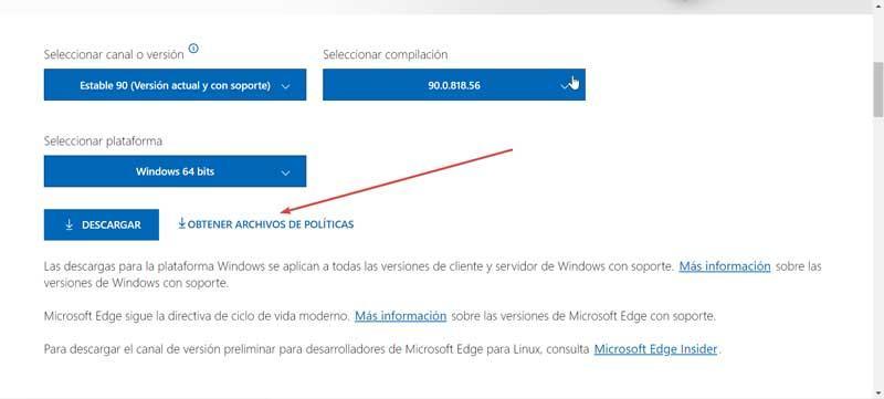 Obtener archivos de políticas Microsoft