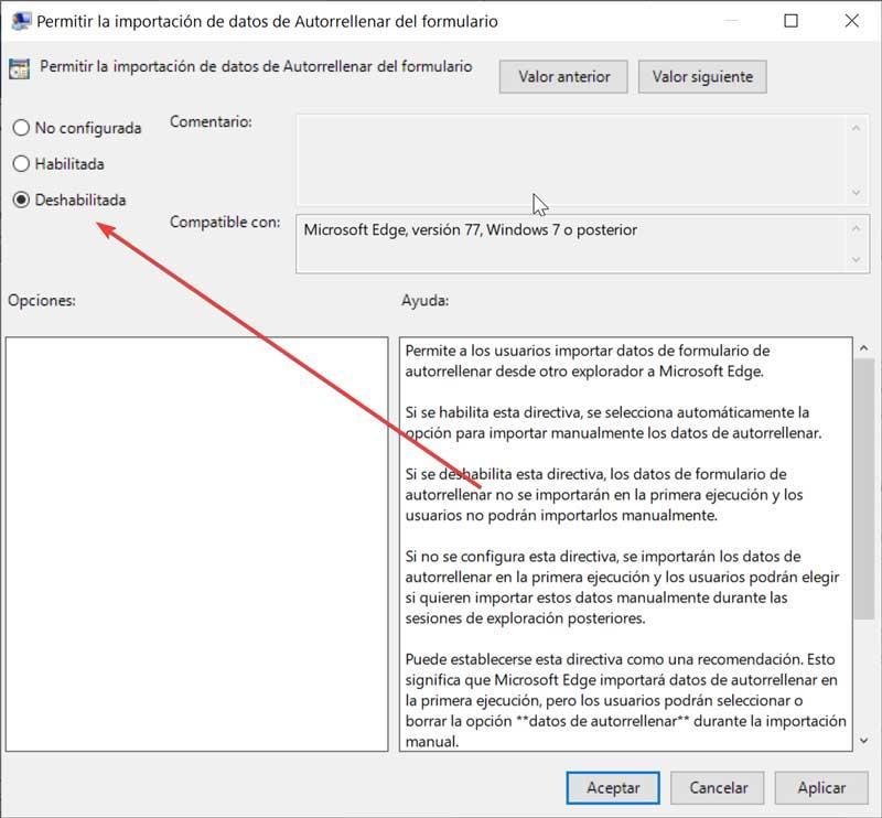 Permitir la importación de datos de Autorrellenar del formulario de Edge