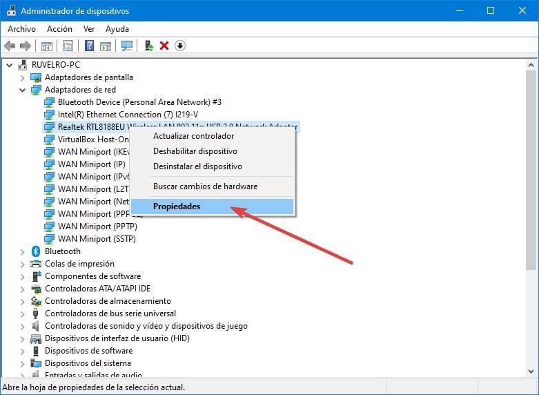 Propiedades dispositivo de red Wi-Fi en Windows