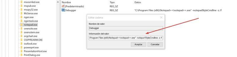 Registro Debugger información de valor