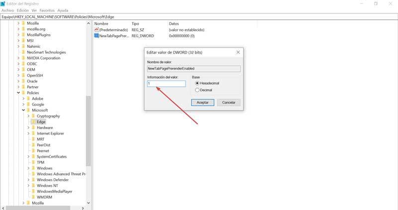 Registro Edge información de valor 1