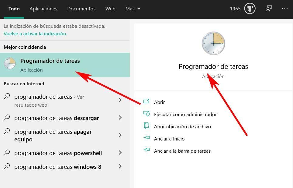 abrir Programador de tareas