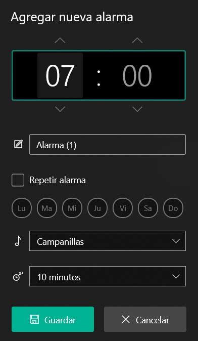 añadir alarma Windows