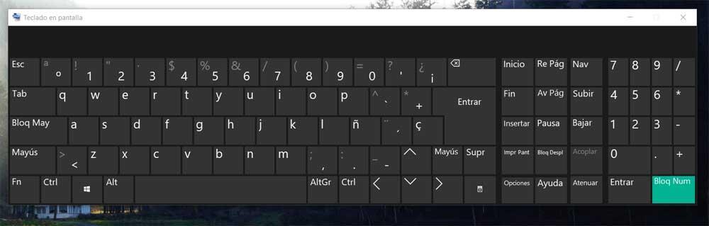 teclado virtual de Windows