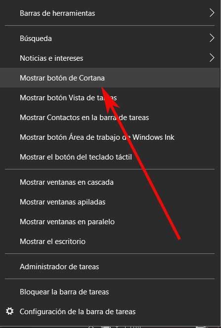 ver botón Cortana