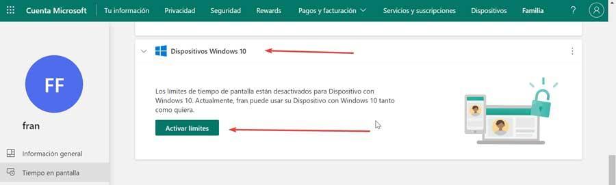 Activar límites dispositivos con Windows 10