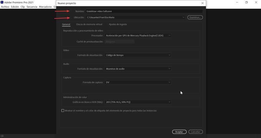 Adobe Premiere Pro nombre nuevo proyecto