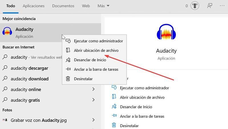 Audacity abrir ubicación del archivo