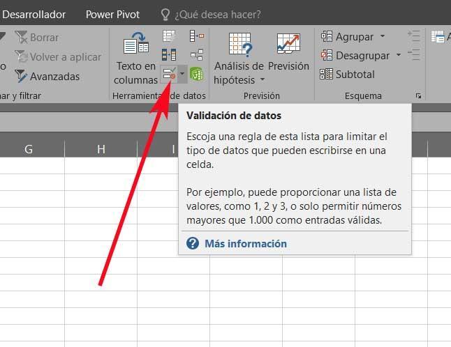 Botón validación datos