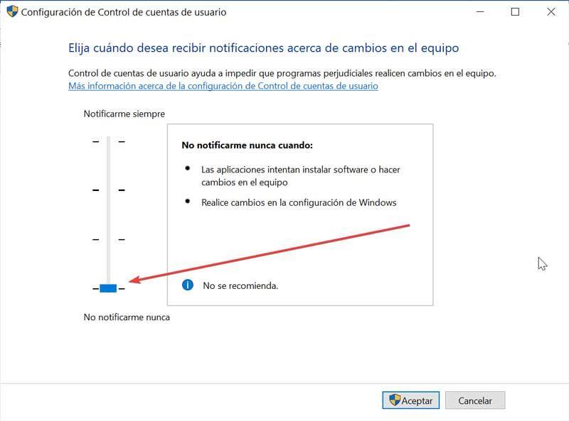 Desactivar Configuración de Control de cuenta de usuario