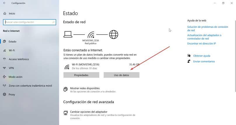 Estado de red Uso de datos