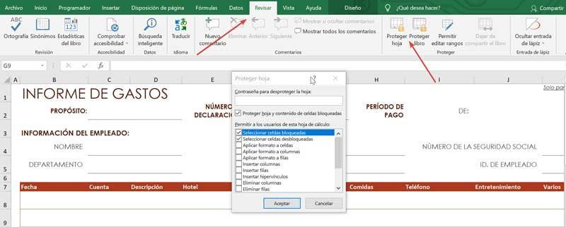 Excel-gennemgang og beskyttelsesark