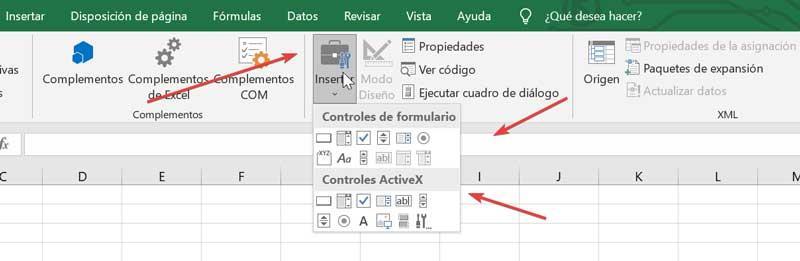 Excel-formularkontroller og ActiveX-kontrolelementer