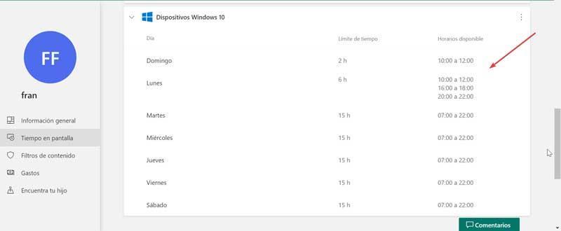 Horarios de pantalla establecidos para Windows 10