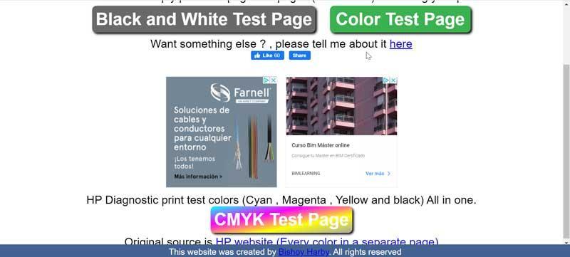 Print a Test Page web