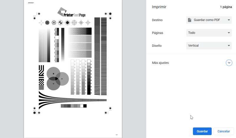 Printer Test Page impresión de prueba blanco y negro