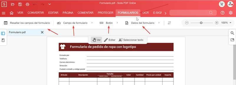 Soda PDF Online Forms-værktøjer